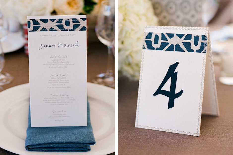 Sewn Menu and Sewn Table Number Card