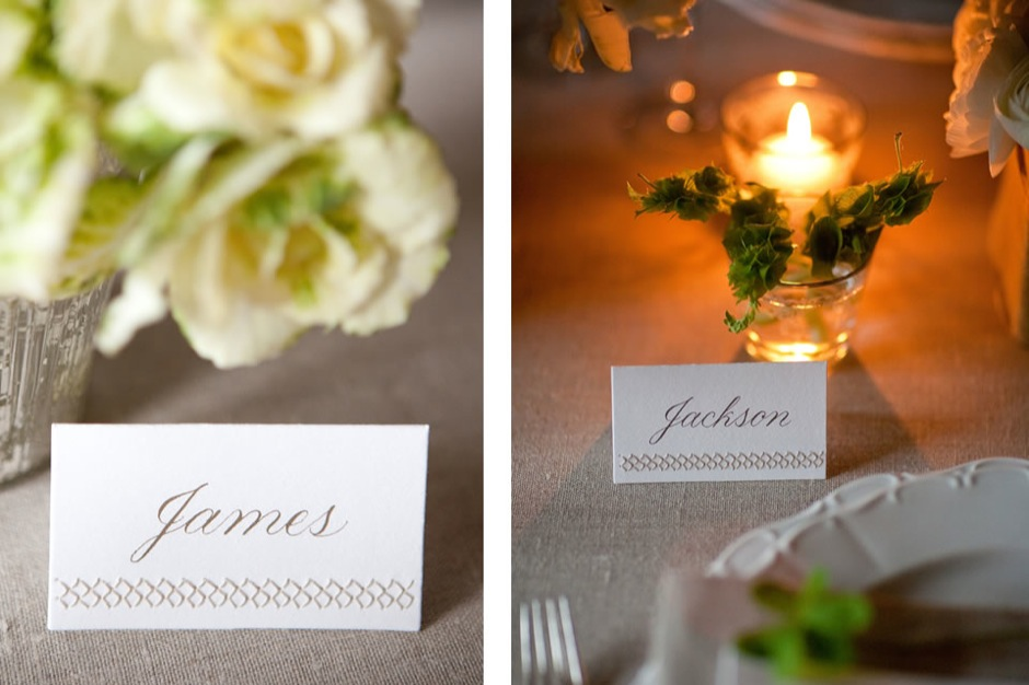Sewn Place Cards With Calligraphy