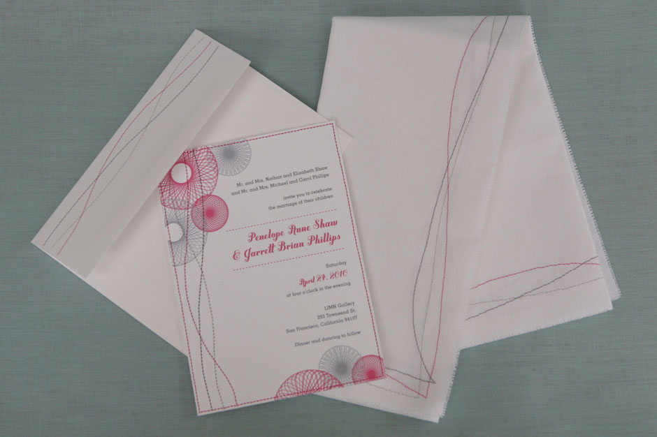 Wedding Invitation, Envelope, and Napkin With Stitching